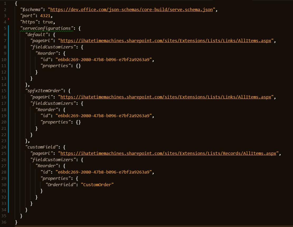 custom serveConfigurations