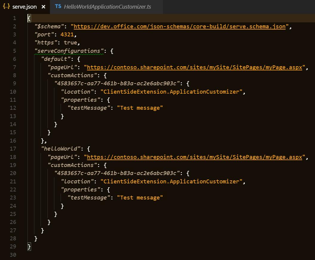 Default serveConfigurations