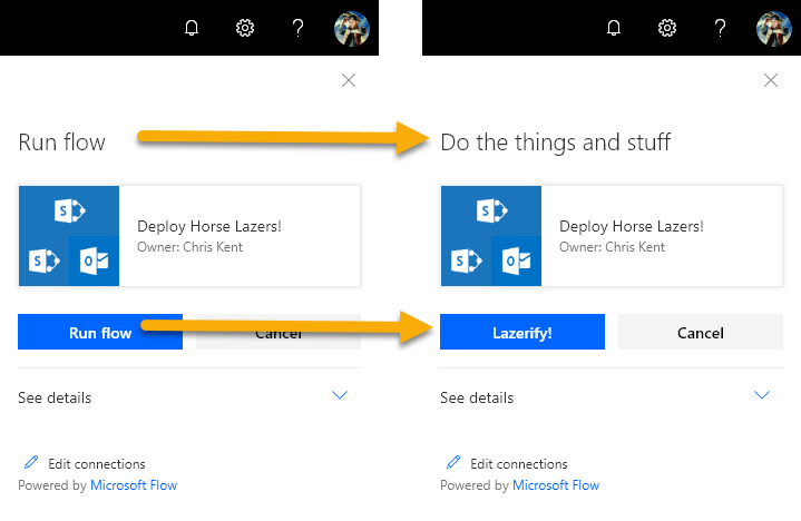 Customizing the Flow Panel with List Formatting actionParams